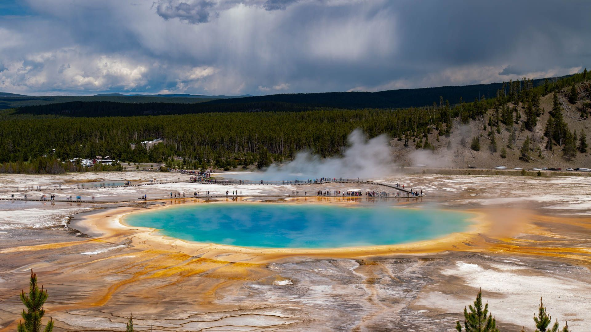 Grand Prismatic Spring and Old Faithful